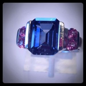 5Ctw Pink & Blue Sapphire Ring 10KWG